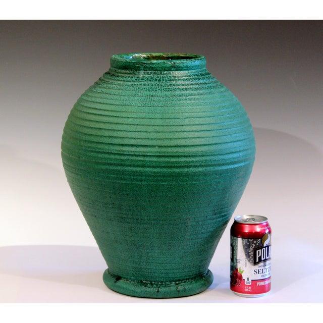 Large Merrimac Pottery Vase Antique Matt Green American Arts & Crafts For Sale - Image 9 of 10