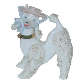 Vintage 60's Japan Ceramic White Poodle With Spaghetti Trim Figurine For Sale