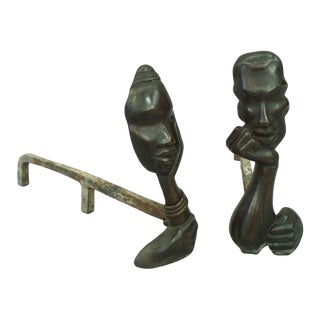 Figural Bronze Andirons in the Style of Hagenauer For Sale