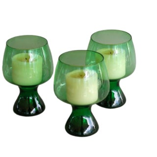 Green Glass Candle Holders - Set of 3 For Sale