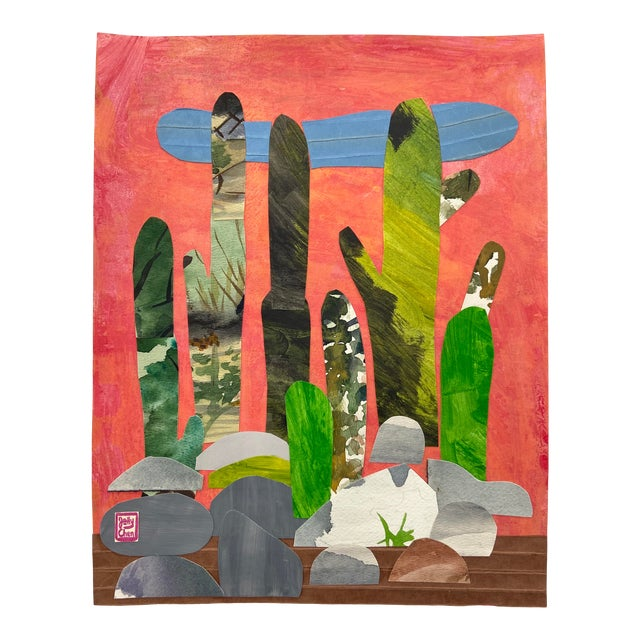 Contemporary Collage, Rock Cactus For Sale