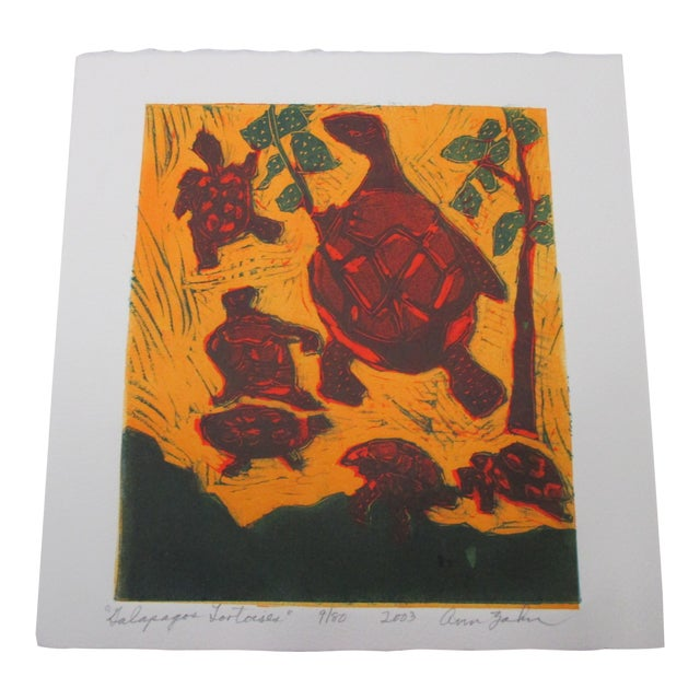 Vintage Lithograph Titled: Galapagos Tortoises Signed by Artist: Ann Zahn For Sale