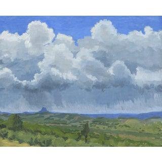 Pilot Rock with Thunderstorm: Original Oil Painting Plein Air Landscape For Sale