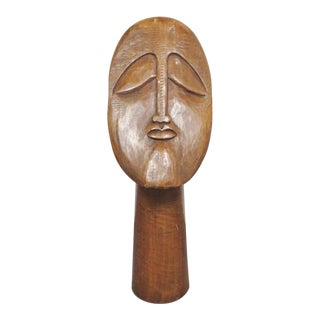 Mid Century Wood Carved Tiki Bust For Sale