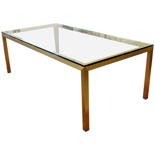 Vintage Mid-Century Modern Bronze Brass & Glass Rectangular Dining Table Brueton For Sale