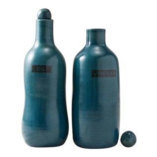Contemporary Handmade Ceramic Tuscany Oil & Vinegar Set - Azure - Set of 2 For Sale