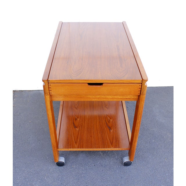 Danish Modern Teak Rolling Bar Cart - Image 3 of 7
