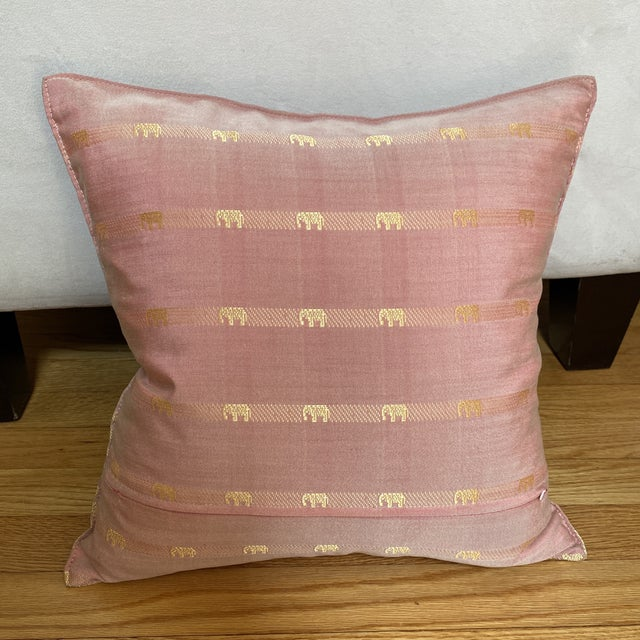 Figurative Contemporary Pink Thai Silk Pillow With Elephant Motifs For Sale - Image 3 of 11