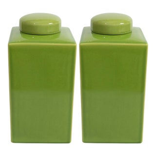 Green Jars with Lids - A Pair For Sale