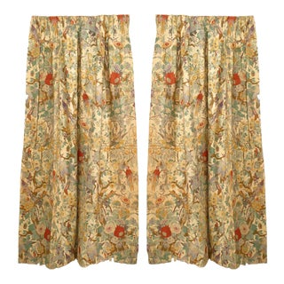 Floral and Bird Linen Drapes For Sale