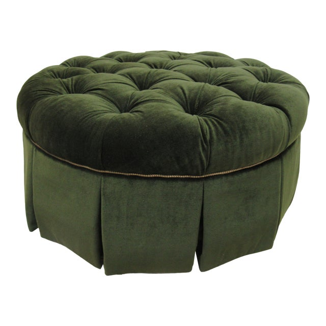 Fantastic 1990S Vintage Century Furniture Round Tufted Ottoman Chairish Onthecornerstone Fun Painted Chair Ideas Images Onthecornerstoneorg