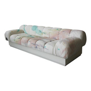 Custom Oversized Post Modern Italian Sofa on Plinth Base For Sale