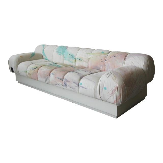 Custom Oversized Post Modern Italian Sofa on Plinth Base For Sale