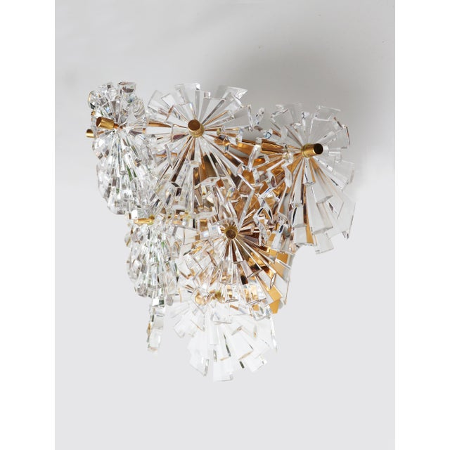 1960s 1970s Germany Kinkeldey Starburst Wall Sconces Crystals on Gilt-Brass - a Pair For Sale - Image 5 of 13