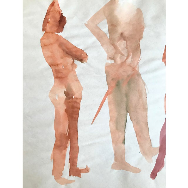 Abstract 1970s Watercolor Figurative Nude Painting Bay Area Artist For Sale - Image 3 of 4