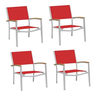 Outdoor Sling Lounge Chair, Natural and Red (Set of 4) For Sale