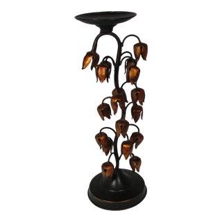 Vintage Tole Bell Flower Candle Holder For Sale