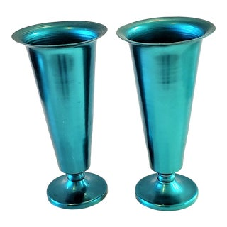 Rare Pair Vintage Mid-Century Modern Anodized Colored Aluminum Vase-Teal For Sale