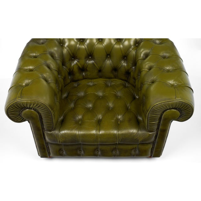 Green Vintage Chesterfield Green Leather Club Chair For Sale - Image 8 of 11