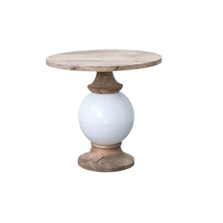 Mango Wood and Metal Round Wood Table For Sale