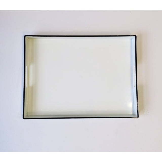 2010s White and Black Lacquer Serving Tray For Sale - Image 5 of 13
