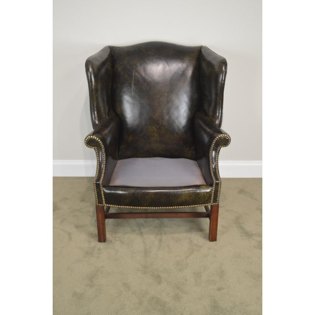 Chippendale Style Dark Green Leather Mahogany Wing Chair For Sale - Image 10 of 13