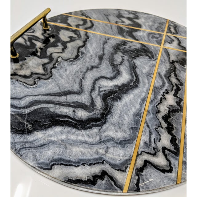Gray Marble and Brass Circular Tray For Sale In Providence - Image 6 of 13