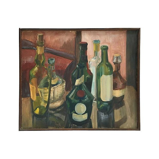 """Attractive French oil on canvas painting of wine bottles. Signed on verso: """"Pierre, 1974."""" Minor wear to frame. Painting..."""