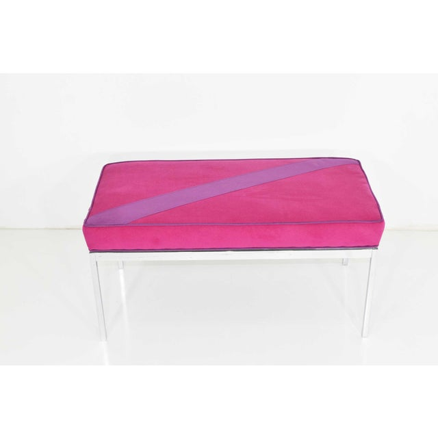 Bench upholstered in a vibrant microsuede. Can be reupholstered if desired.