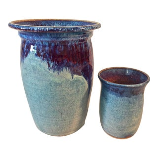 Contemporary Handmade Pottery Vases - A Pair