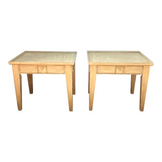 20th Century Boho Chic Carved Rectangular Side Tables - a Pair For Sale