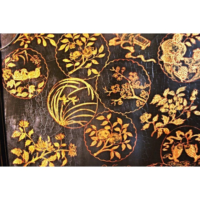 Mid 19th Century Early Chinese Armoire Lacquer Cabinet For Sale - Image 5 of 9