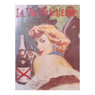"""1980's French Art Nouveau Champagne Poster, """"La Vie Parisienne"""" Champagne De Castellane (Reproduction), by Mario"""