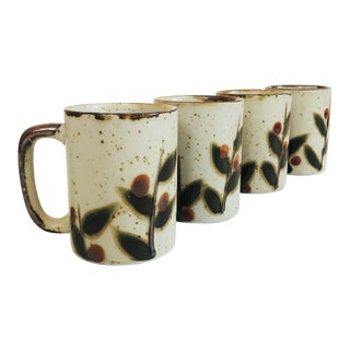 Vintage Hand Painted Pottery Mugs - Set of 4 For Sale
