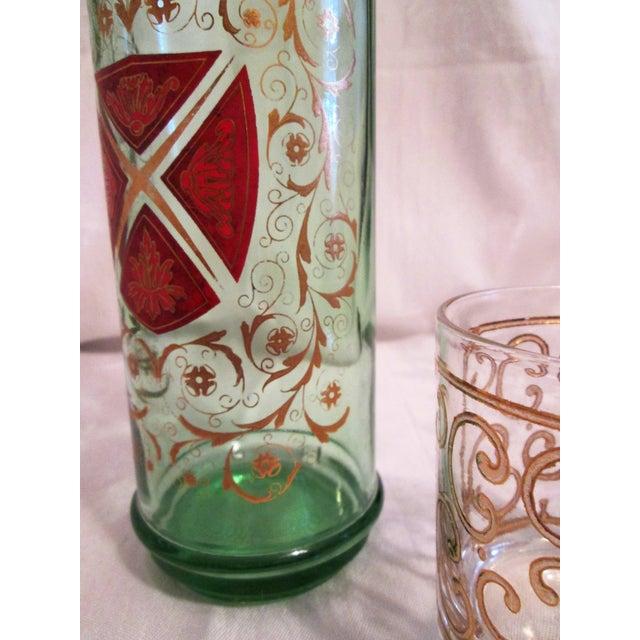 Green Glass Liquor Decanter Glasses - Set of 3 - Image 4 of 7