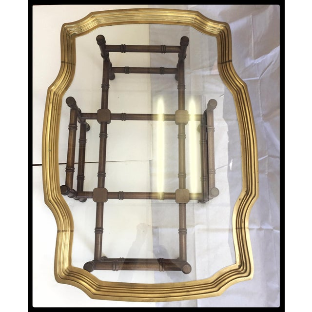 Vintage Brass Tray Coffee Table Faux Bamboo Base - Image 5 of 6