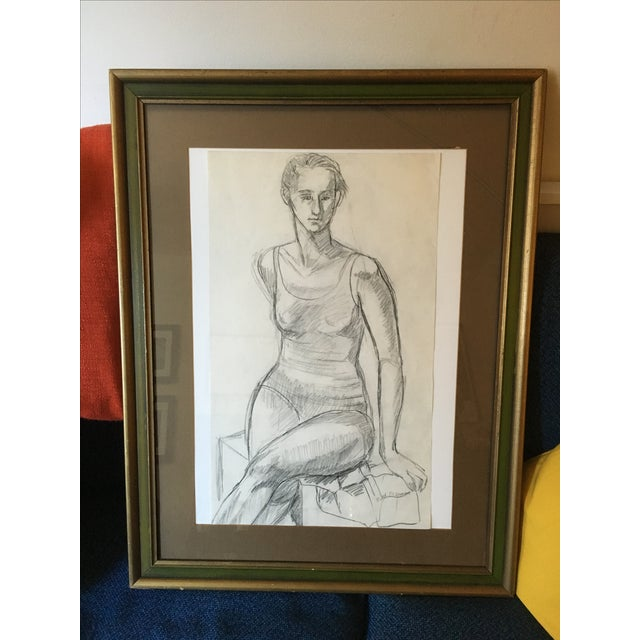 Framed Vintage Drawing of a Woman - Image 2 of 7