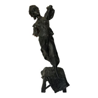 Vintage Cast Iron Gypsy Statue For Sale