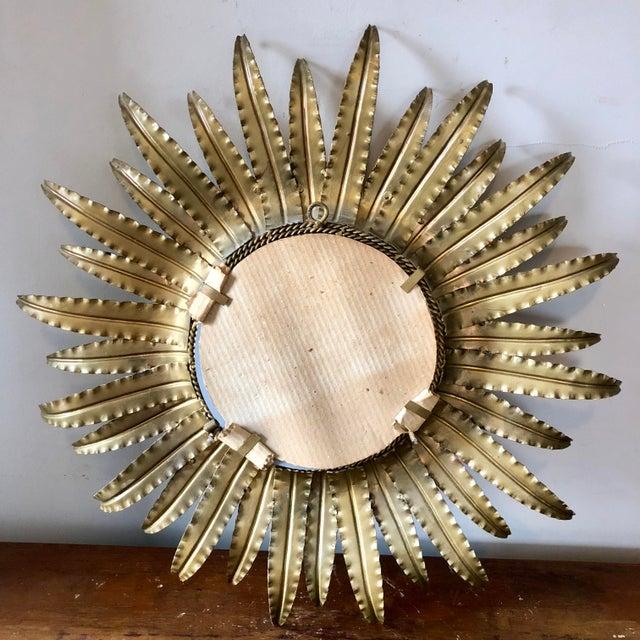 Vintage French Gilt Metal Sunburst Mirror For Sale - Image 4 of 4