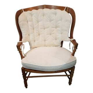 Hollywood Regency Bernhardt White Tufted Wingback Chair