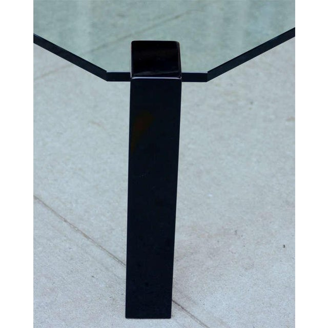 Exceptional Modernist Black lacquer and Glass Cocktail Table For Sale - Image 4 of 9