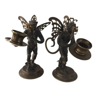 Vintage Flying Monkeys Brass & Steel Drama and Comedy Masks Candle Holders Mid Century For Sale