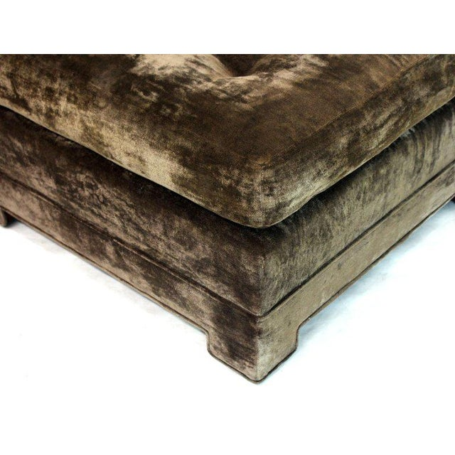 Large Square Deep Bronze Velvet Upholstery Tufted Upholstery Ottoman Footstool For Sale - Image 10 of 11
