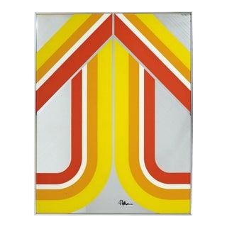 Mid Century Modern Panton Copeland Era Yellow Mirrored Pop Wall Art Sculpture For Sale