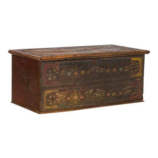 Mid 19th Century Antique Romanian Painted Trunk For Sale