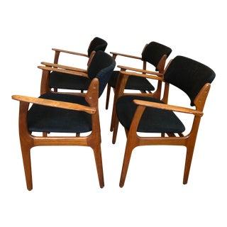 Erik Buch Danish Modern Teak Armchairs - Set of 4 For Sale