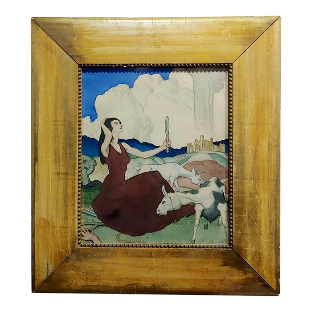 Paul Julian - Pretty Woman in a Surreal Background -1930s Painting For Sale