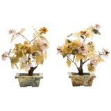 Image of Pair of Asian Jade and Carved Stone Floral Arrangements For Sale