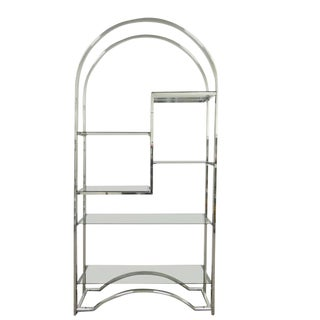 1970s Mid Century Modern Chrome & Smoked Glass Arch Etagere For Sale