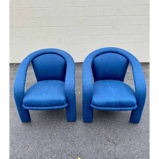 Carson's Blue Upholstred Sculpture Chairs - a Pair For Sale In Miami - Image 6 of 12